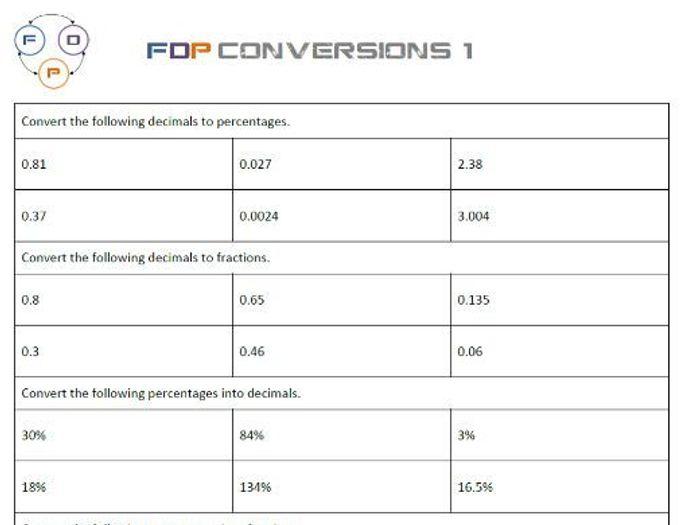 Fdp Conversion Worksheet (fractions, Decimals, Percentages) By Fractions As Decimals Worksheet Fdp Conversion Worksheet (fractions, Decimals, Percentages)