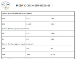 Fdp Conversion Worksheet Fractions Decimals Percentages By  Fdp Conversion Worksheet Fractions Decimals Percentages