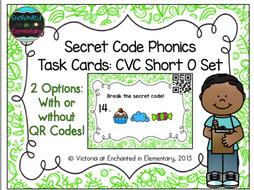 Secret Code Phonics Task Cards: CVC Short O Set