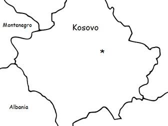 KOSOVO - Printable handout with map and flag
