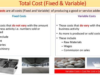 GCSE ECONOMICS - OCR/IGCSE - REVENUE, COSTS & PROFIT