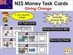 New Zealand Money Giving Change Task Cards