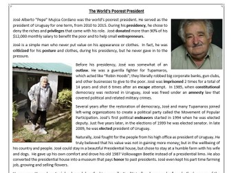 The World's Poorest President - Reading Comprehension Worksheet