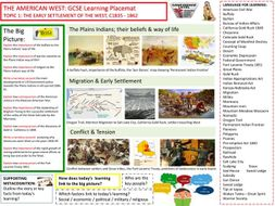 9-1 Edexcel History Learning/Topic Placemats for The American West- Topic 1