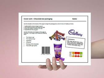D&T cover work / cover lesson - Chocolate bar packaging design - 1hr activity