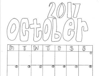 October Calendar Organiser and Colouring Sheet