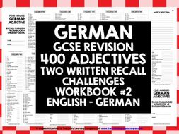 gcse german german adjectives recall workbook 2 by livelylearning teaching resources. Black Bedroom Furniture Sets. Home Design Ideas