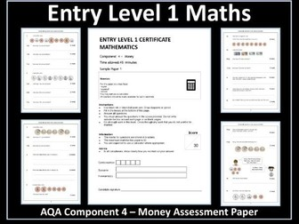 AQA Entry Level Maths Assessment - Money