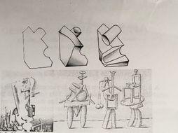 Basic geometric tonal contrasts: chalk and charcoal and building Surrealist fantasy figure KS3