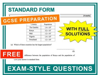 GCSE 9-1 Exam Question Practice (Standard Form)
