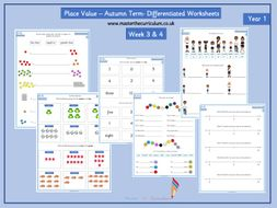Year 1 - block 1 -Week 3 & 4 Place Value to 10 worksheets- follows white rose small steps