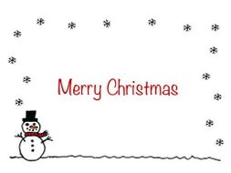 christmas card insert snowman design a5 2 up on a a4 page
