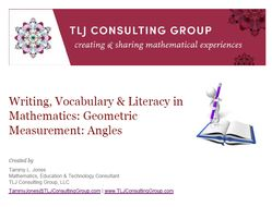 Writing, Vocabulary & Literacy in Mathematics: Geometric Measurement: Angles