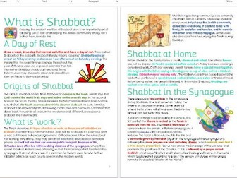 Judaism: Shabbat Differentiated Information and Task Sheets
