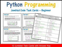 Python Programming–Jumbled Code Task Cards (Beginner) Coding Unplugged Activity