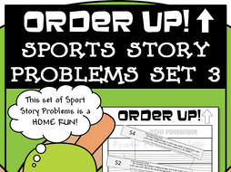 Sports Story Problems - Order Up! Set 3 (Baseball)