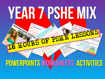 PSHE / PSE 20 Lessons - Year 7