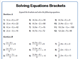 Solving Equations Brackets 9-1 GCSE Maths Worksheet and Answers