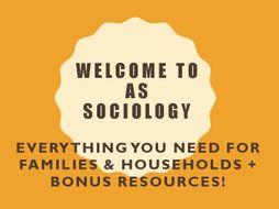 AQA AS Sociology: Families & Households (Bonus: Bunting Display, Christmas Quiz and Study Skills!)