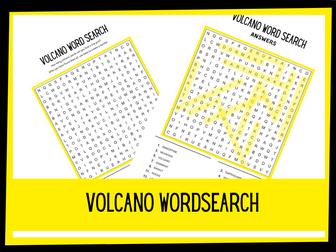 Volcano wordsearch KS2