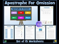 Apostrophe for Omission / Apostrophe for Contraction: Set of 15 Worksheets