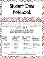 Student Data Tracker/Notebook for Upper Elementary Grades 3-6