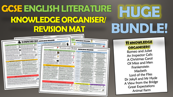 GCSE English Literature Knowledge Organisers/Revision Mat Huge Bundle!