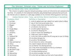 Internet Sites, Terms, and Activities Explanation-Definitions