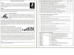The Life and Work of Charles Darwin - Reading Comprehension Worksheet / Informational Text