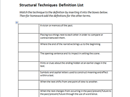 Structural Techniques Definitions Worksheet - English GCSE by ...