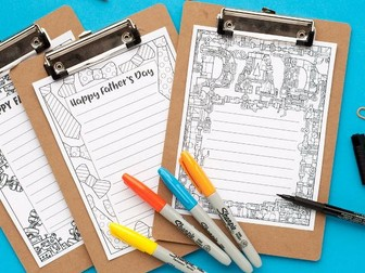 Father's Day Stationery – 3 printable letterheads to color and send to Dad