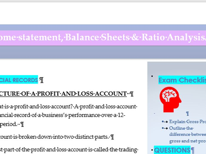 Revision notes Financial Statements Income Statements and Balance