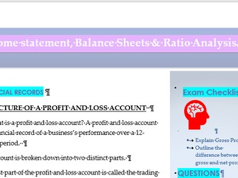 GCSE & A Level Financial Statements (Income Statements and Balance Sheets ) Ratio Analysis