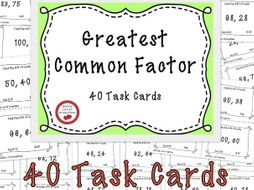 Free Download - Greatest Common Factor Task Cards