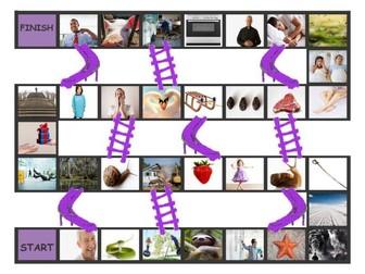 Phonics Consonant Blends sm-sn-sw-sl-pr-st Photo Chutes-Ladders Game