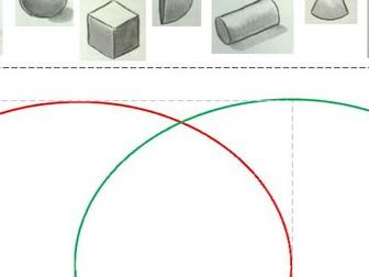 3D shape sorting into Venn diagram
