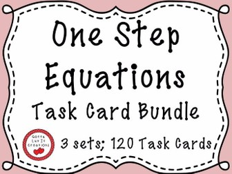 Solving Equations One Step Equations With Negatives  -  120 Task Cards