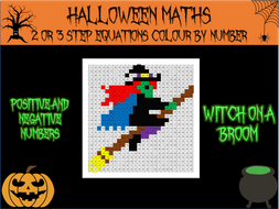 Halloween maths - solving 2 or 3 step equations colour by number