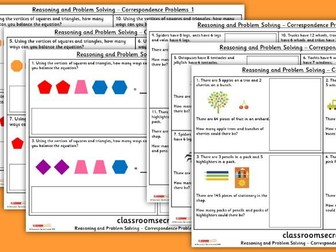 Year 4 Correspondence Problems WRM Spring Block 1 Reasoning and Problem Solving Pack