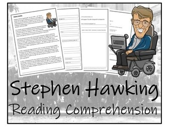 UKS2 Literacy - Stephen Hawking Reading Comprehension Activity