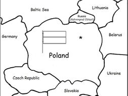 POLAND - Printable handout with map and flag