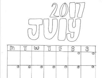 July Calendar Organiser and Colouring Sheet