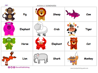 Animals Dominoes - match words and pictures