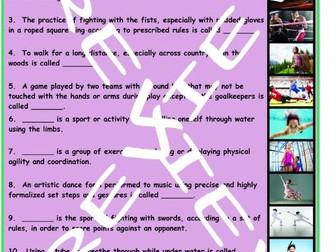 Sports and Exercise 3 Photo Worksheet Set
