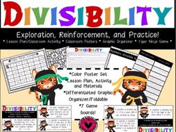 Divisibility: Lesson Plan and Activity, Graphic Organizer, Posters, and Game!