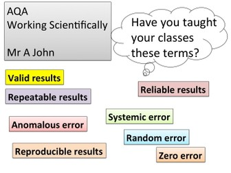 AQA - working scientifically definitions; starters.