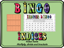 Indices - Index laws bingo (multiply, divide and brackets)