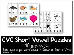 CVC Words  -Short Vowel Puzzles - Phonics