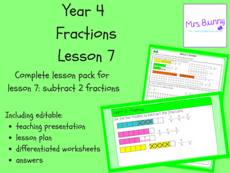 7. Fractions: subtract 2 fractions lesson pack (Y4)