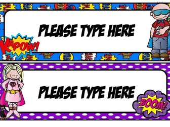 Superhero Tray labels